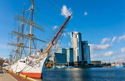 Sailing,Frigate,In,Harbor,Of,Gdynia,,Poland